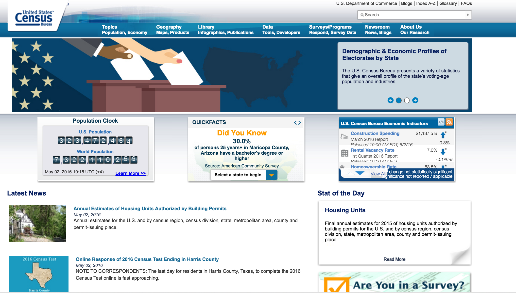 Census should initiate a project to redesign the Census.gov homepage (current homepage pictured above)
