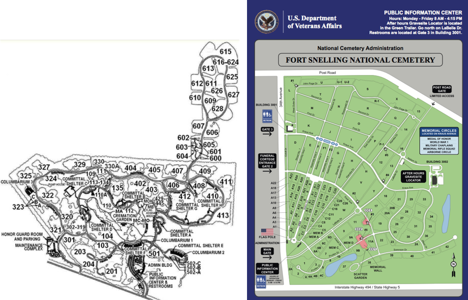 Examples of NCA cemetery maps which vary in readability. (Left) Florida National Cemetery, (right) Fort Snelling National Cemetery in Minnesota.