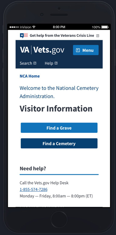 Prototype 1: an enhanced mobile site featuring a more user-friendly design and improved grave search