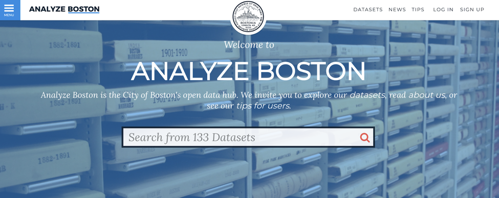 The homepage for the City of Boston's open data portal (Source:  data.boston.gov )