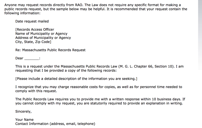 Sample public records request (Source:  www.sec.state.ma.us )
