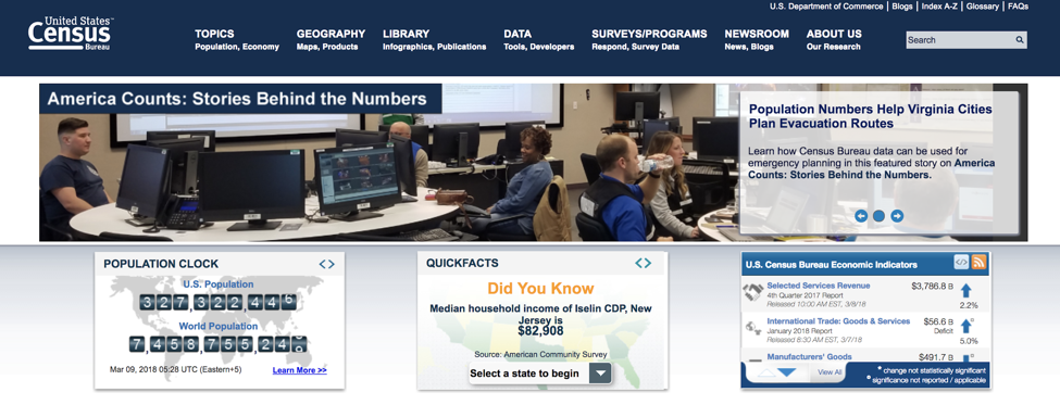 Visitors to the Census website are greeted by a cluttered and often confusing landing page