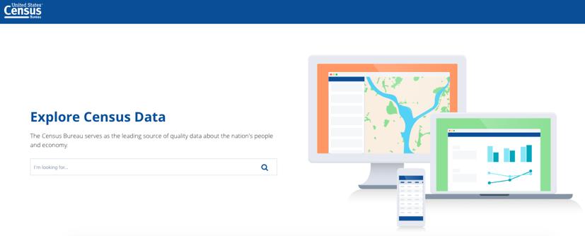 The landing page of the US Census Bureau's beta website - data.census.gov