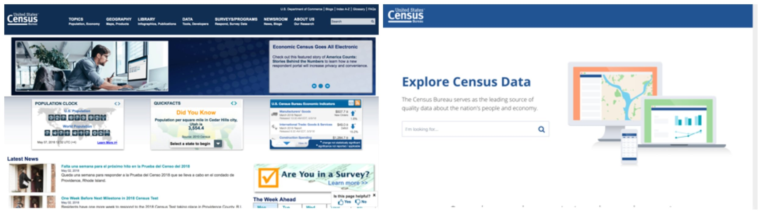 Current Census website (left) and new version in testing (right)