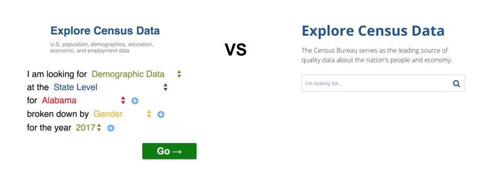 Two prototypes we tested with users: Guided search (left) and open search (right)