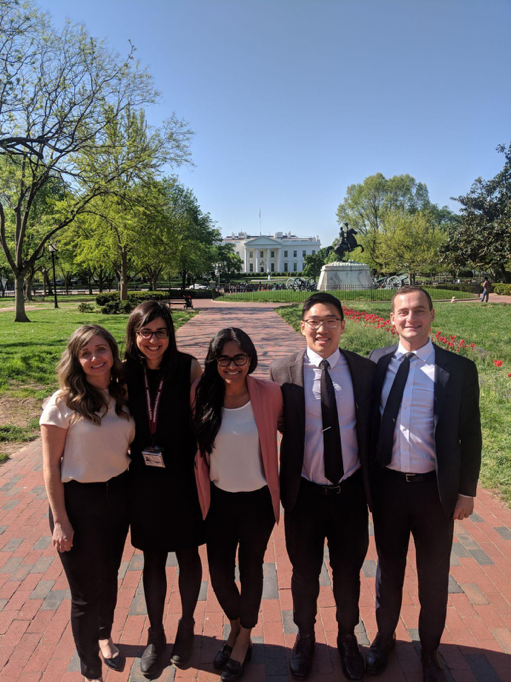 Our team members in front of the White House during our visit to D.C. to share our final presentation with White House and VA officials