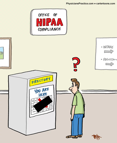 How HIPAA is often perceived in our cultural consciousness. Cartoon retrieved from:    https://www.physicianspractice.com/hipaa/downside-hipaa-compliance-practice