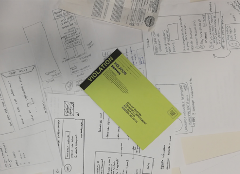 Above: Current code violation ticket is contrasted to paper prototypes of new envelopes.