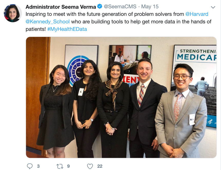 Meeting with CMS Administrator Seema Verma at the end of the semester