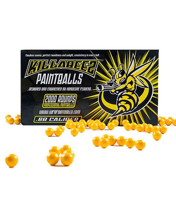 KillaBeez  Great paint, that won't break the bank. These paintballs deliver good accuracy and were created for recreational players, but with tournament quality.  No oil, and light starch means less mess, less stress. Easy to clean!  Available in yellow and orange shells.