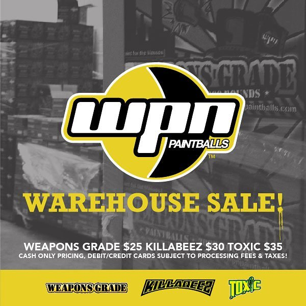 WPN Warehouse Sale for Weapons Grade, Killabeez and Toxic Paint. Come by to our San Dimas Location 611 W Terrace Dr. San Dimas, Ca 91773!  #wpn #weaponsgrade #toxic #killabeez #woodsball #speedball #paint #paintball #paintballs #paintballin #paintballer #paintballers #paintballmarker #pewpewpew #pbnation #paintballlife #paintball4life #extremesports #actionsports #guns #gotcha