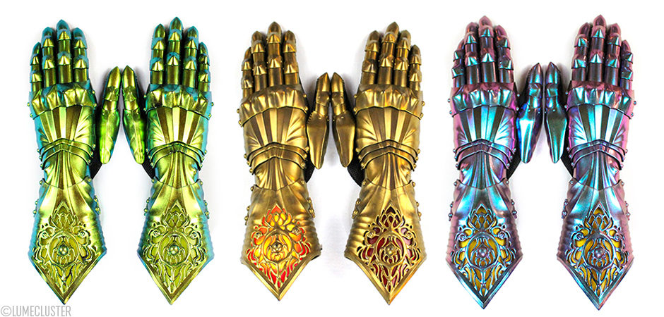 "The ""Phoenix Gauntlets"" by Lumecluster - 3D printed iridescent armor gauntlets to suit any shieldmaiden or warrior out there who wants to stand out and don't compensate the fantasy for reality and the reality for fantasy."