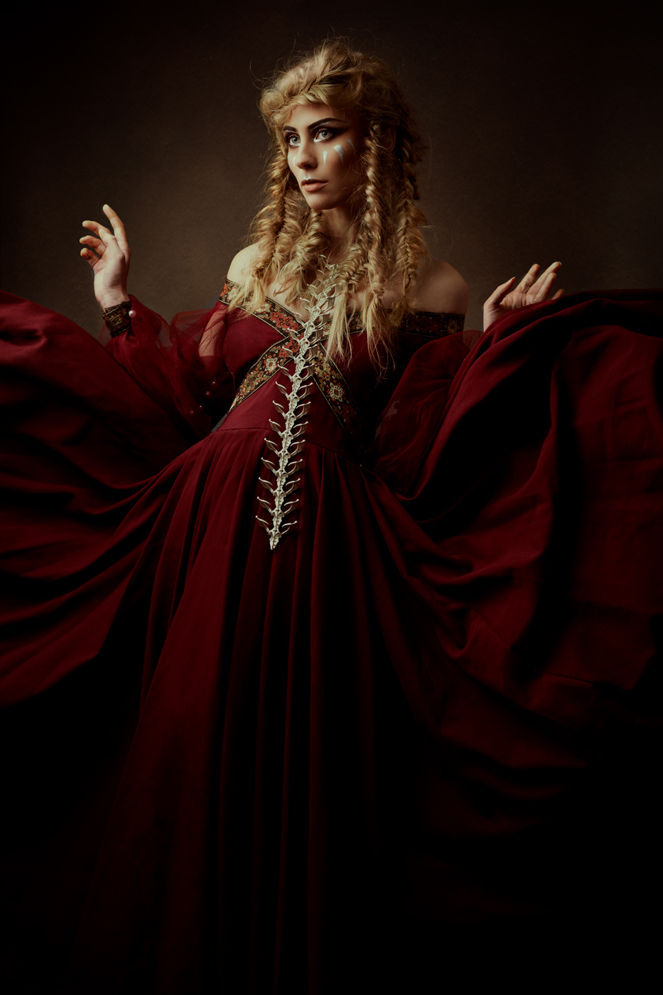 Find the blog & light diagram about this shoot here:  Wynvyre - Part 1 .   The spine worn by Luce Del Sole - Hair & Makeup by Eline Deblauwe - Dress by Maria Heller Designs - Photography & Edit by Laura Sheridan / Studio Sheridan's Art.