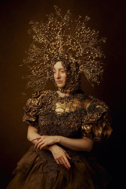 Model Illyria Okami wearing Agnieszka Osipa Costumes against a Fine Art Backdrop
