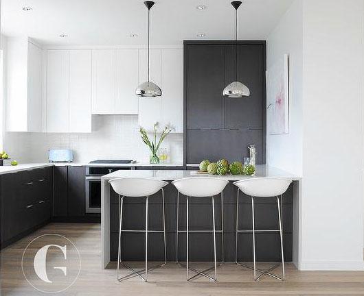 """""""Tuxedo Cabinets"""" - Modern take on black & white by Gillian Segal Design"""