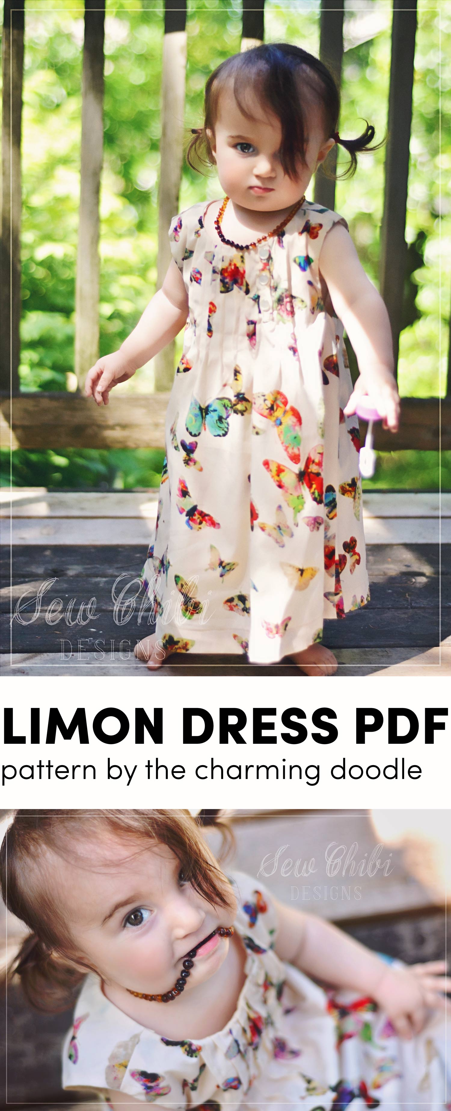 the limon dress PDF pattern sewn by sew chibi designs for willow + co.