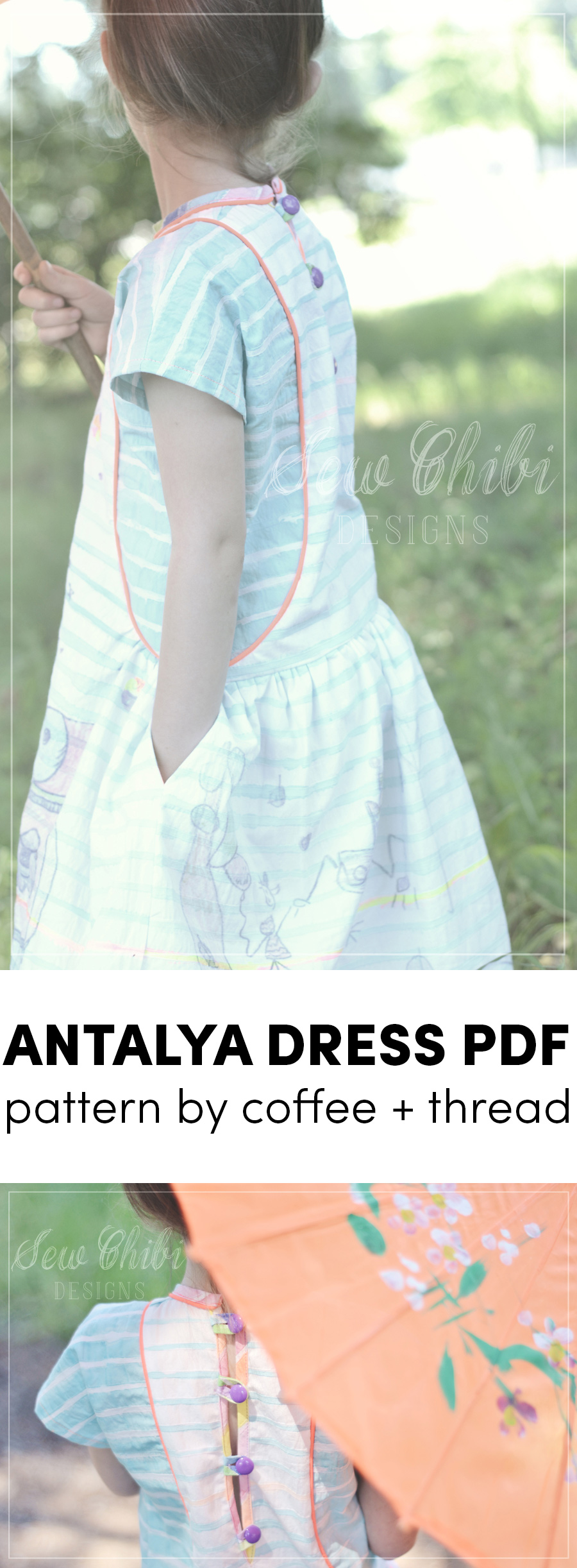 the antalya dress pdf pattern by coffee + thread sewn by sew chibi designs for willow + co.