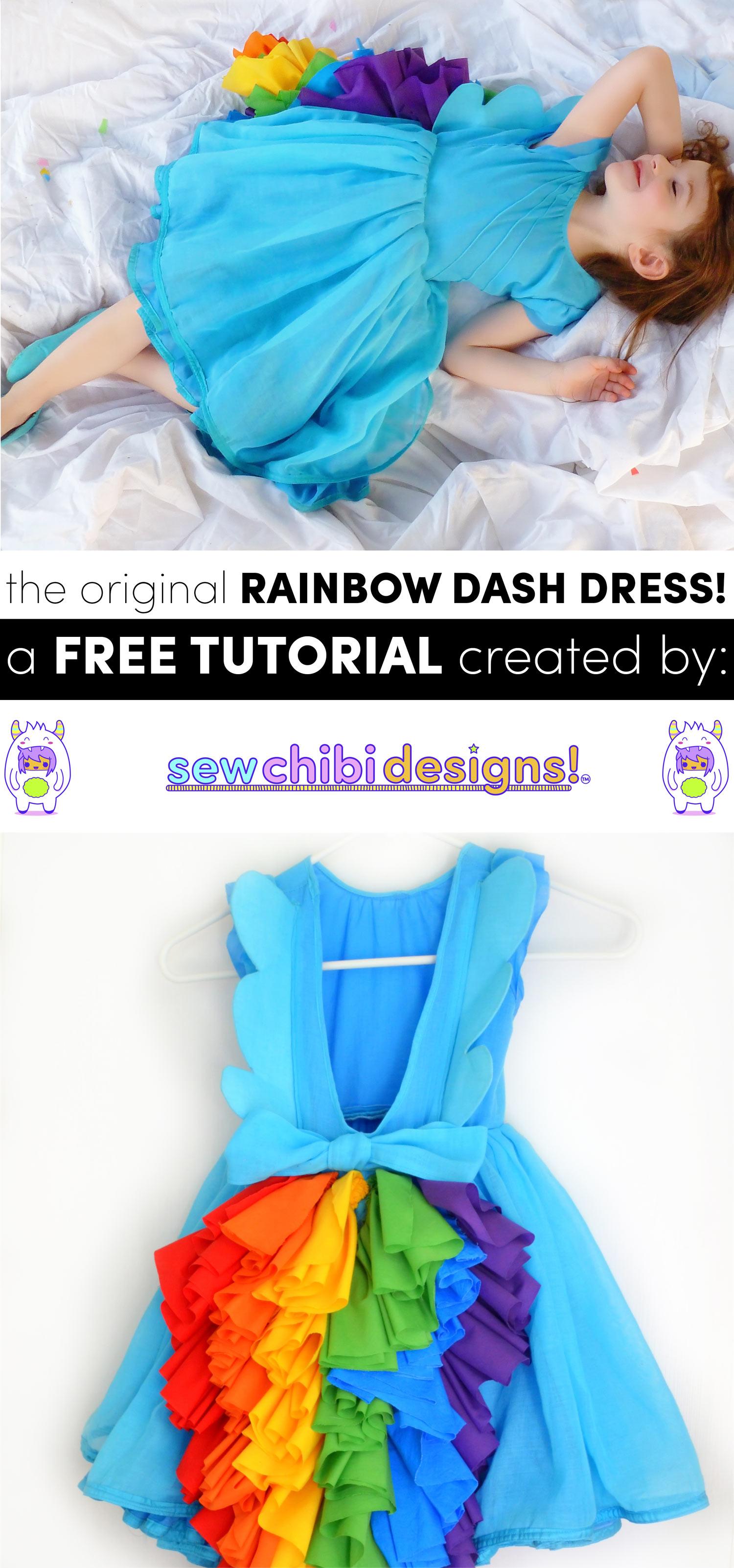 the original rainbow dash dress and free DIY/ Tutorial by sew chibi designs