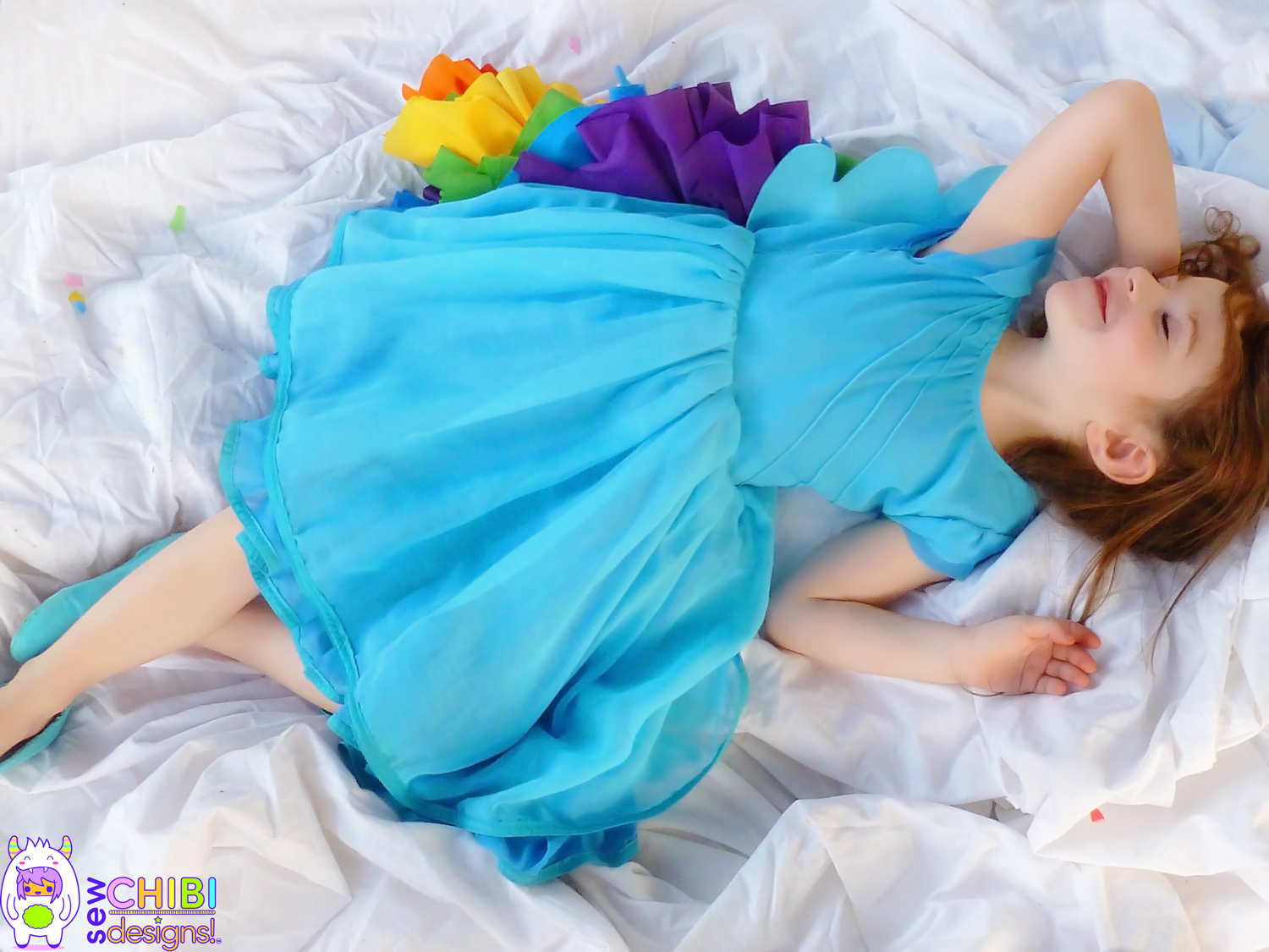 The original Rainbow Dash My Little Pony Dress with Free Pattern and tutorial by Sew Chibi Designs
