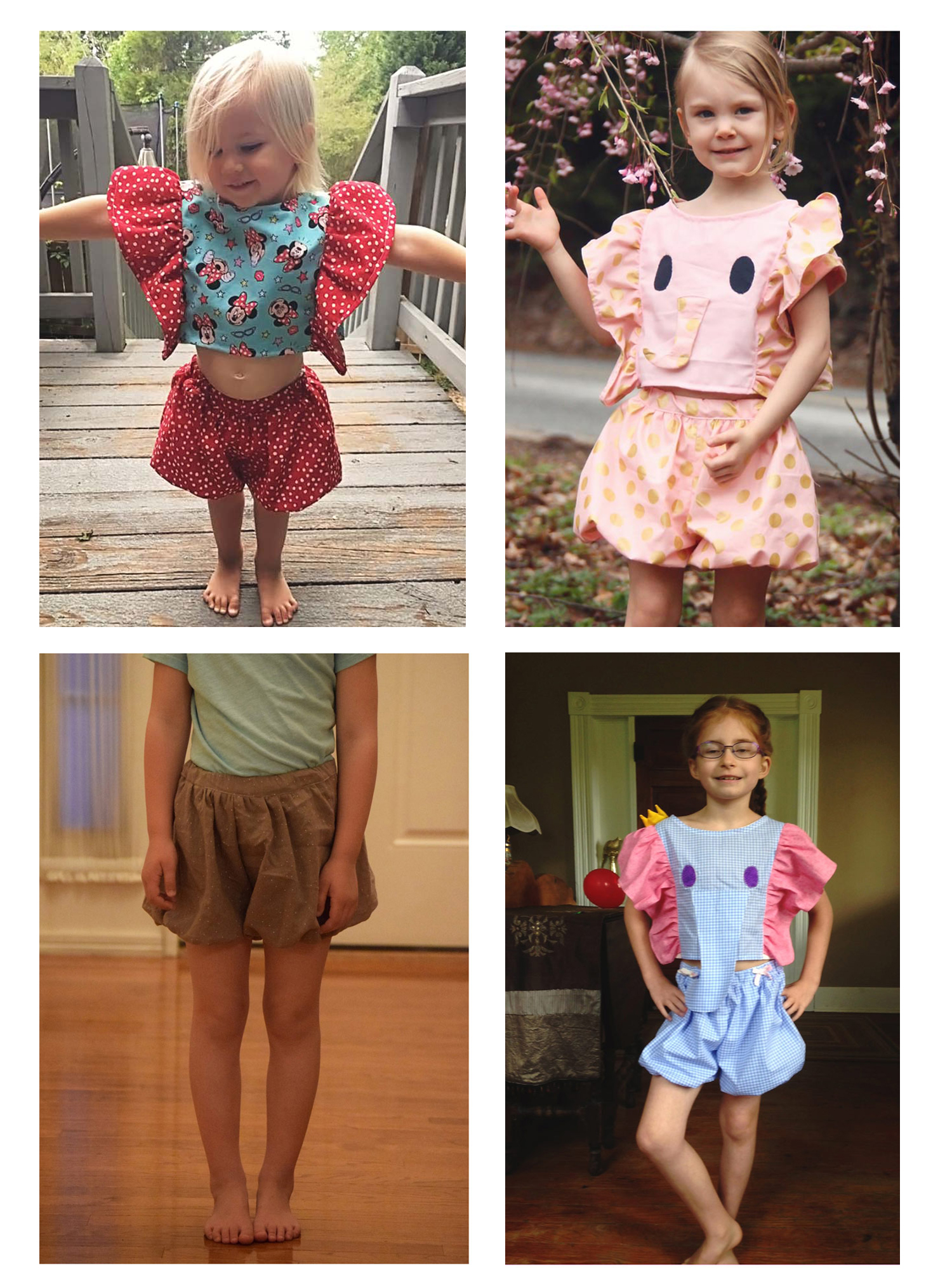 tester photo credits   top left: Lindsay, Sweet Bean Boutique   top right: Lore, Five Blessings Boutique   bottom left: Rachel, Once Upon a Sewing Machine   bottom right: Joyce