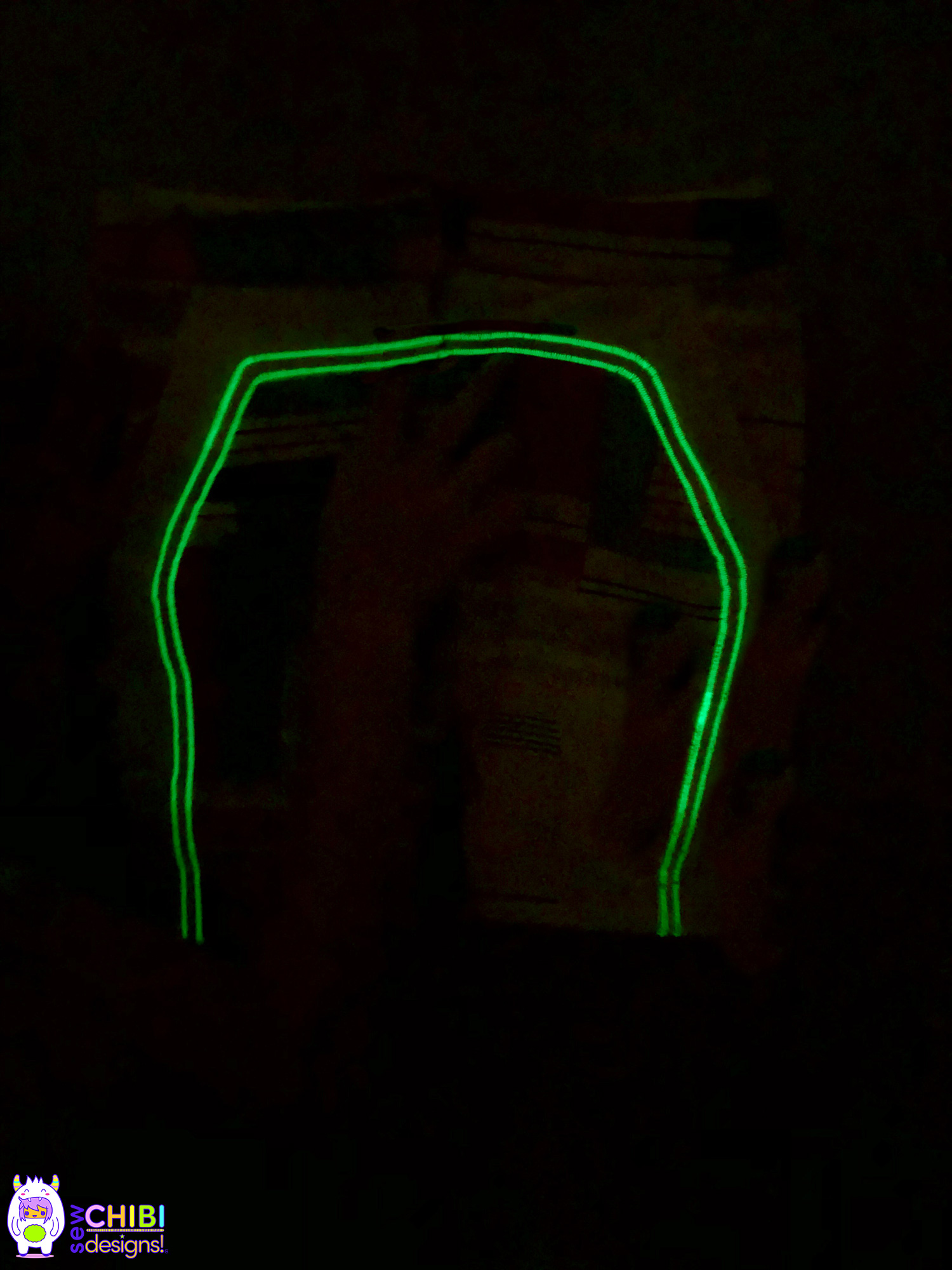 Glow in the Dark. - Full view of Azriella's Morocco Shorts with glow-in-the-dark top-stitching.