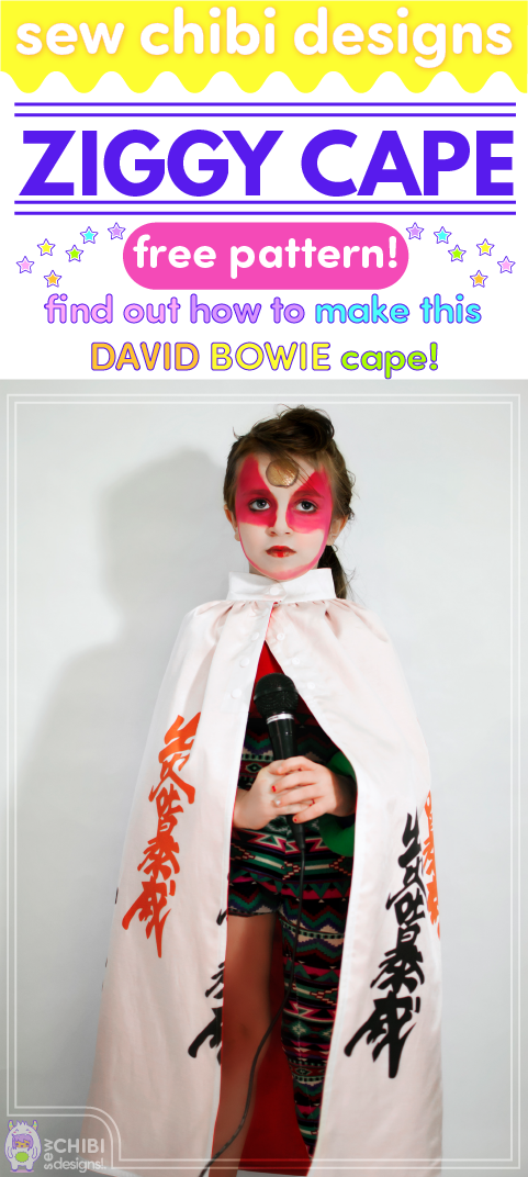 Make this Ziggy Stardust cape for yourself or your mini fan with this tutorial by Sew Chibi Designs! Not a Bowie fan? You can use this tutorial to make a simple, snap up cape!