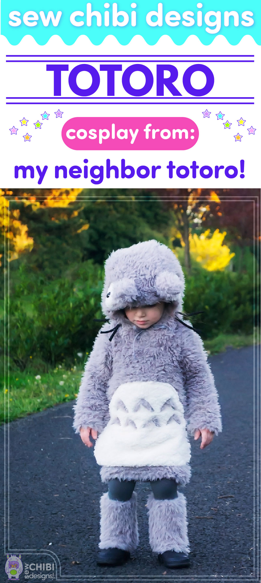 Totoro chibi cosplay from Studio Ghibli's My Neighbor Totoro (Tonari no Totoro となりのトトロ ) sewn by Sew Chibi Designs for Sew Geeky