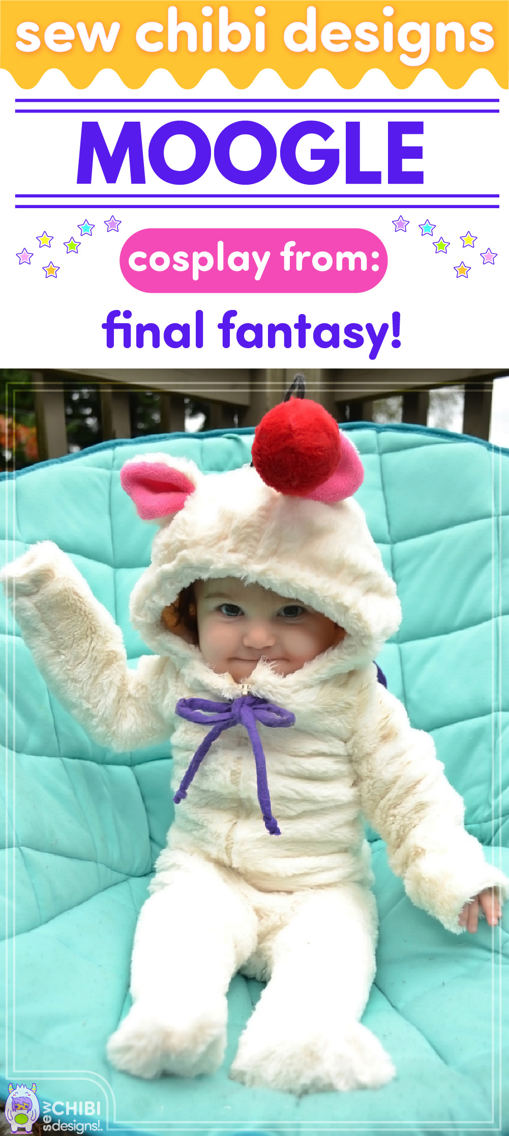Moogle chibi cosplay from Final Fantasy sewn by Sew Chibi Designs for Sew Geeky