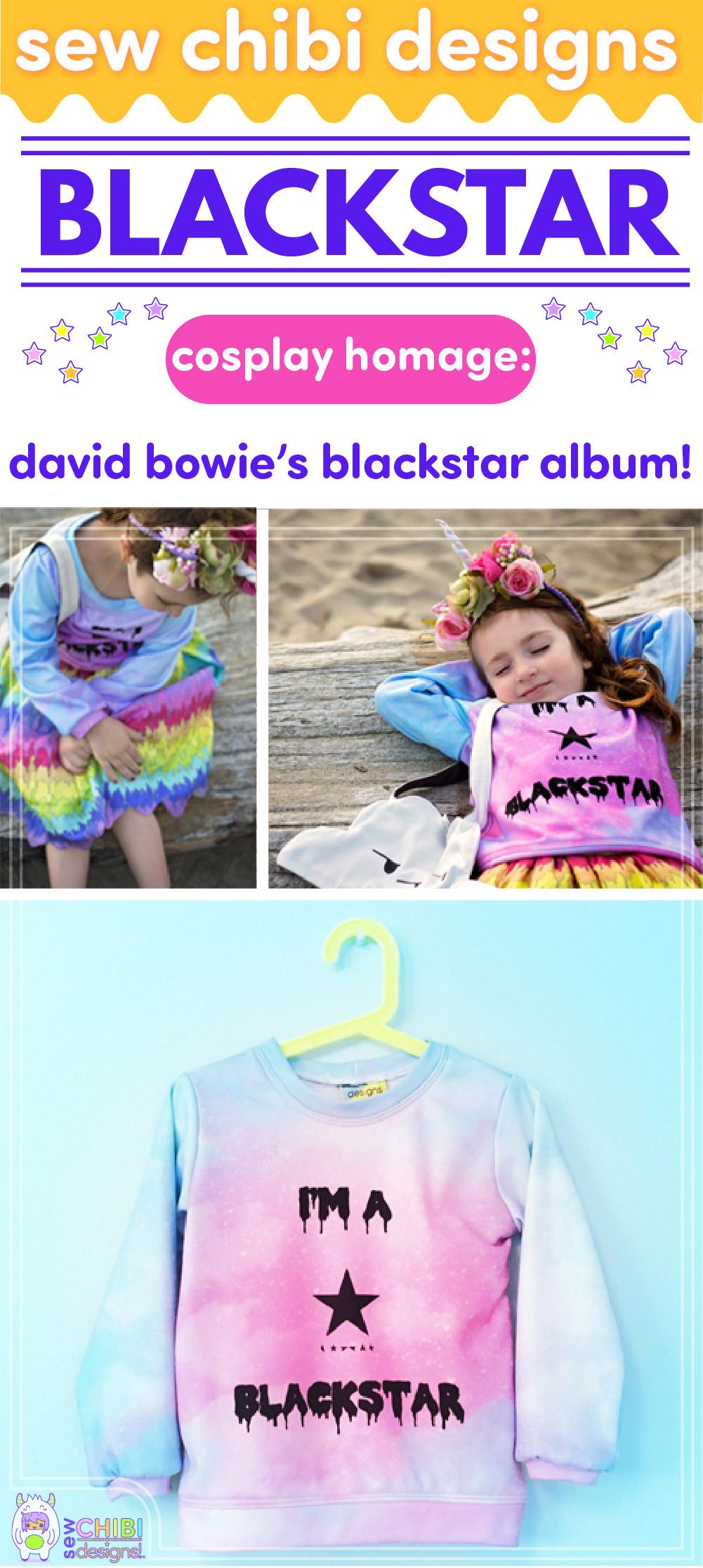 David Bowie Blackstar pastel goth and rainbows chibi cosplay sewn by Sew Chibi Designs for Sew Geeky