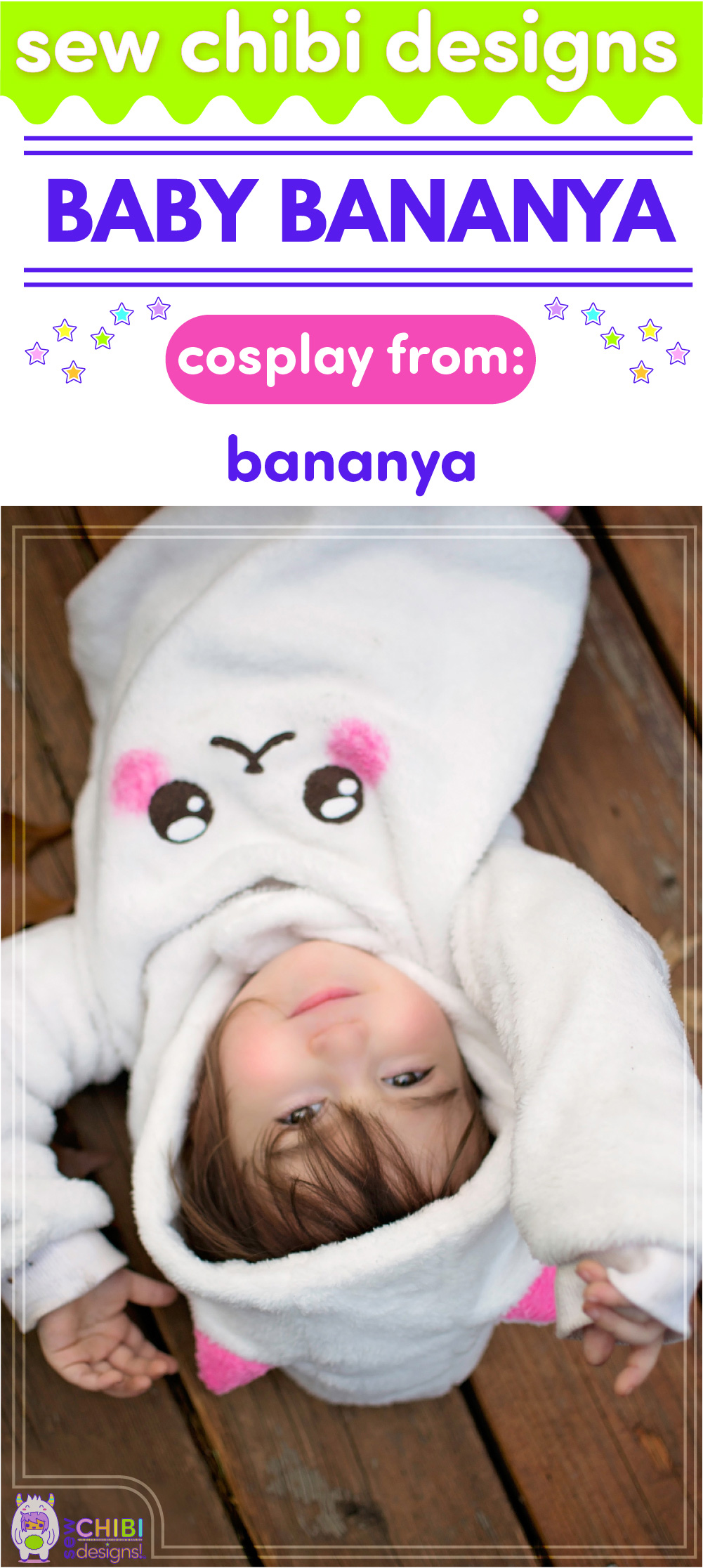 Baby Bananya chibi cosplay from Crunchyroll's Bananya ( ばなにゃ ) sewn by Sew Chibi Designs for Sew Geeky
