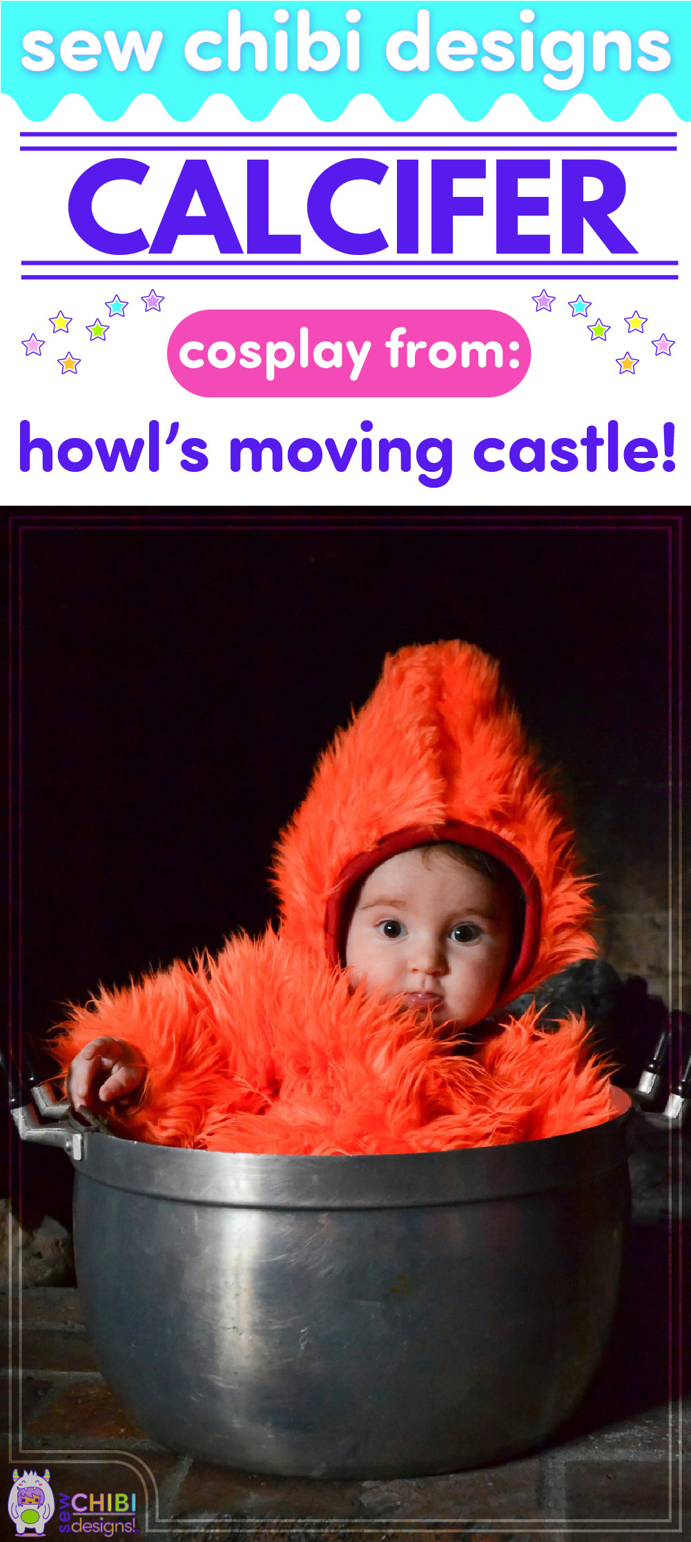 Calcifer chibi cosplay from Studio Ghibli's Howl's Moving Castle sewn by Sew Chibi Designs for Sew Geeky