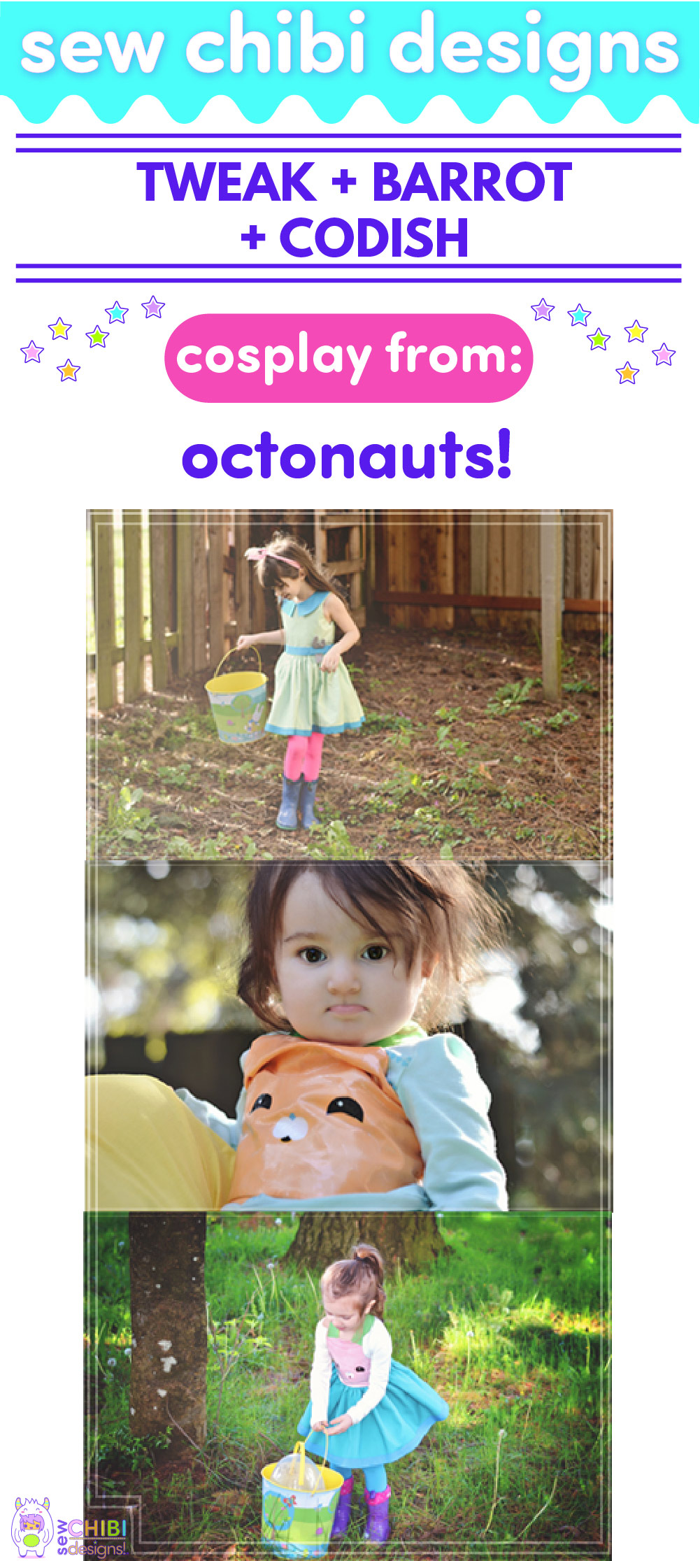Tweak, Barrot, and Codish chibi cosplay from Octonauts sewn by Sew Chibi Designs for Sew Geeky