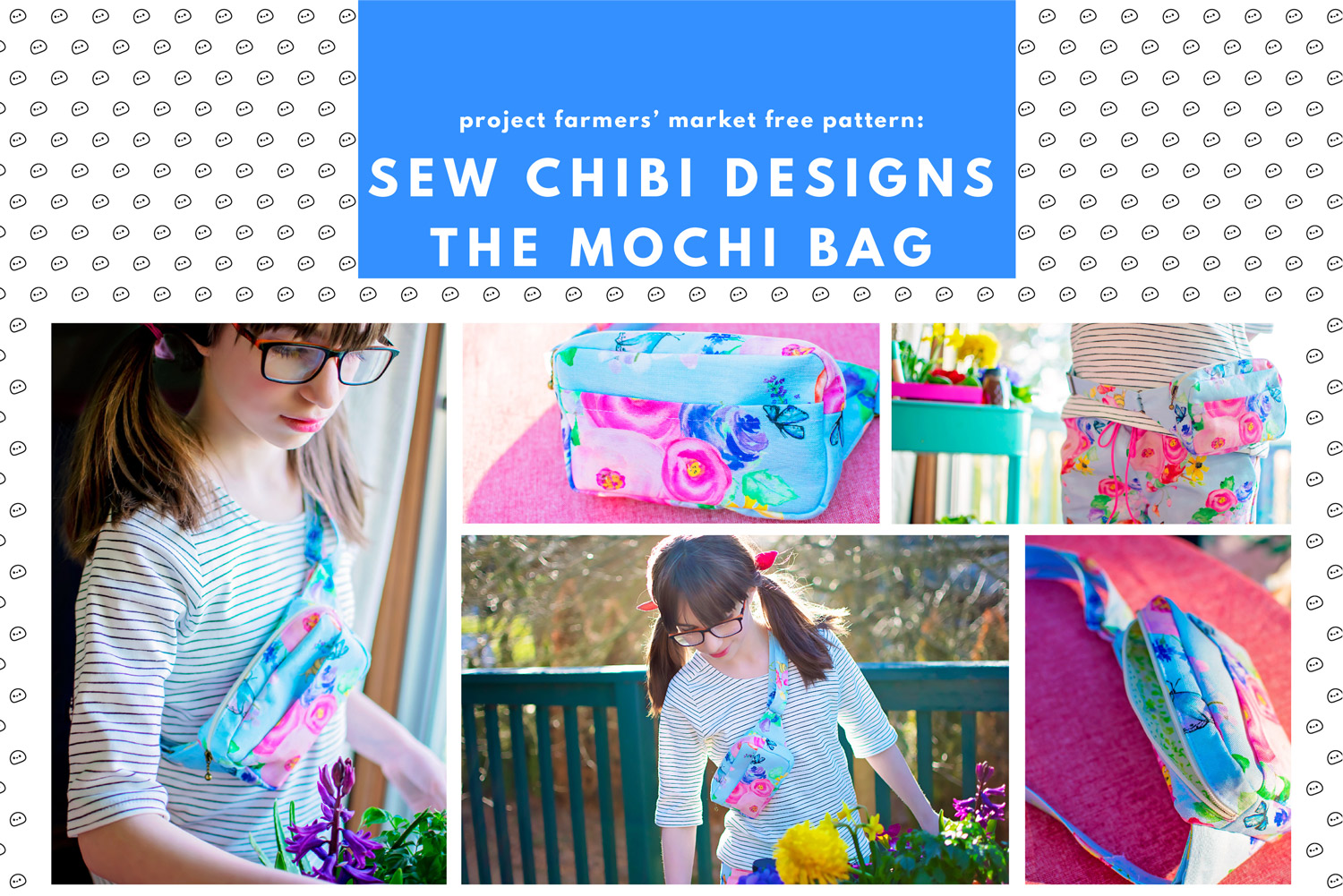 FREE PATTERN! the Mochi Bag for Kids and Adults. An adjustable strap, zippered chest bag (can be worn on hips too!) with a front pocket! A must-have accessory for any outing!  Pairs well with the �Ichigo Bomber Jacket PDF Pattern by Sew Chibi Designs. A lightweight, color blocked, knit coat for all kids: boys and girls, from baby to teen! Perfect for spring! Grab a copy of the pattern for $9 USD.