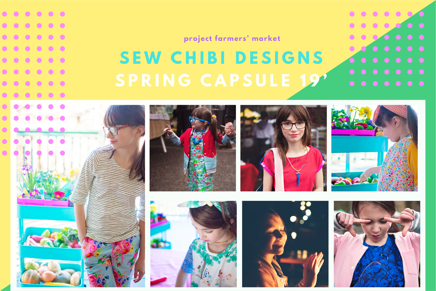 Sew Chibi Designs Farmers' Market Capsule for Project Run & Play Featuring the Ichigo Bomber Jacket, by Kat of  Sew Chibi Designs , the UpBeet Tee/Dress and Turnip Trousers by Celina of  Petit a Petit , the Caraway Cardigan by Delia of  Delia Creates , the Jonagold Jumper by Jenn of  a Jennuine Life , Rosemary and Thyme Tops by Audrey of  Skirt Fixation , the Soleil Skirt and Banana Boat Tee by Jess of  Lil Luxe Collection , the Seed Romper by Suz of  Sewpony , and the D'Anjou dress by Bernadette of  Duchess and Hare ! Check out all of the patterns plus a ton of freebie patterns (like my freebie,  the Mochi Bag PDF Pattern )!