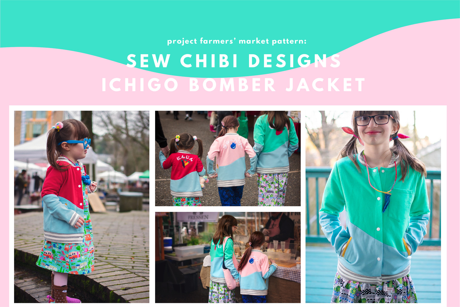 🍓The Ichigo Bomber Jacket PDF Pattern by Sew Chibi Designs. A lightweight, color blocked, knit coat for all kids: boys and girls, from baby to teen! Perfect for spring! $9 USD  Also snag a copy of the FREE PATTERN: the Mochi Bag for Kids and Adults. An adjustable strap, zippered chest bag (can be worn on hips too!) with a front pocket! A must-have accessory for any outing!