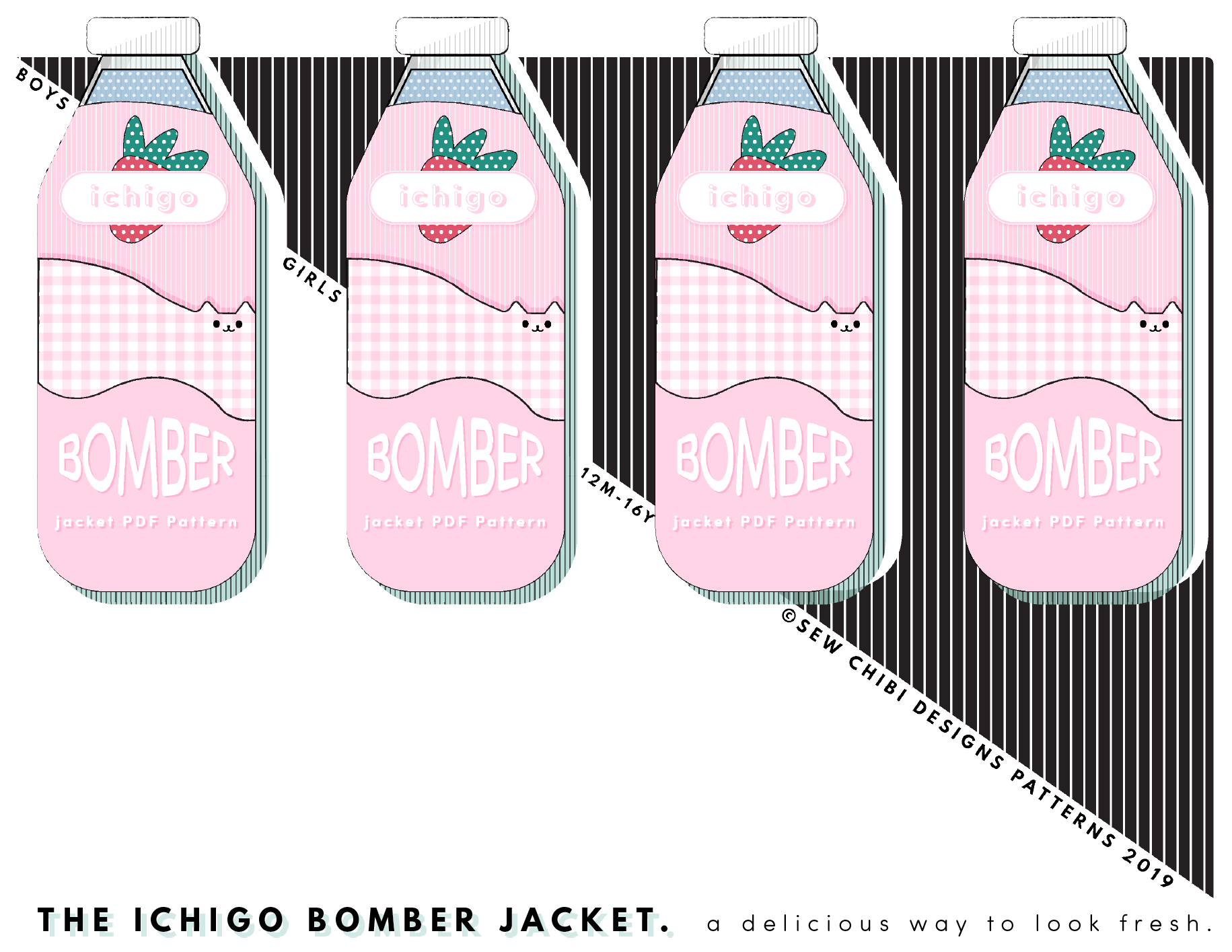 🍓The Ichigo Bomber Jacket PDF Pattern by Sew Chibi Designs. A lightweight, color blocked, knit coat for all kids: boys and girls, from baby to teen! Perfect for spring!