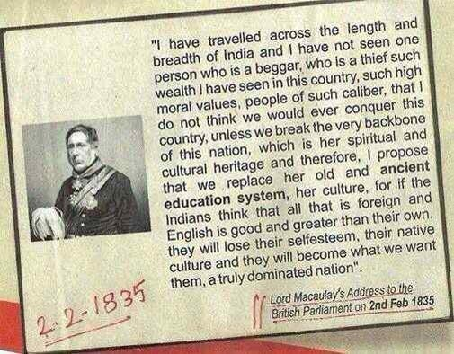 Excerpt of quote from Lord Macaulay's address to the British Parliment, 2nd February 1835