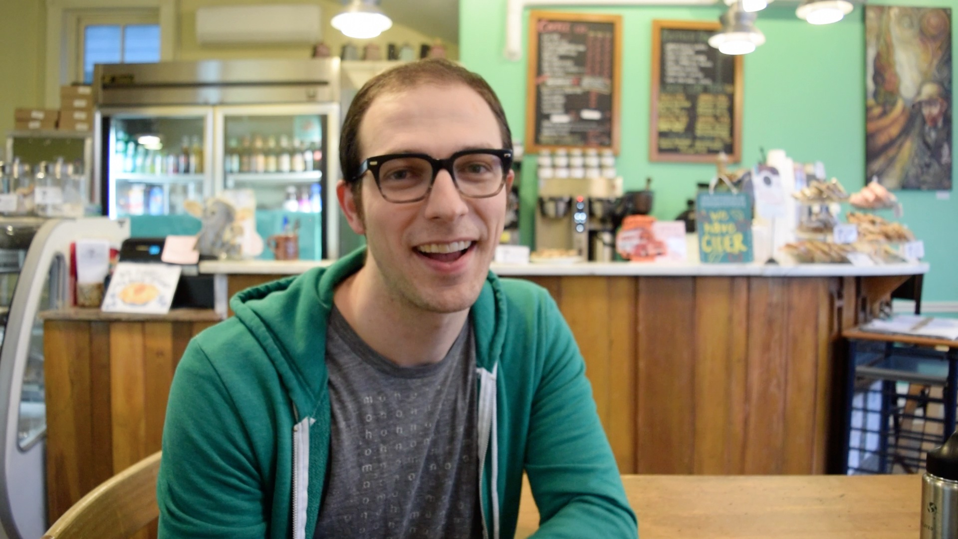 "Timothy Felton   Cafe Manager, First Slice Pie Cafe    ""We've really enjoyed being a part of this community.  It seems to be a good fit for what people want.  A lot of young families are out looking to walk around, and that's our ideal market because we don't do a lot of marketing.  Wanting to focus on the outreach, we don't have a lot of extra funds to spend on that sort of thing, so we're dependent on word of mouth and foot traffic.  Beyond that, there seems to be a great network and community feel to the businesses in Andersonville.  Other business owners have come in and introduced themselves to let us know about their business, and that makes us feel like we're part of a bigger Andersonville family."""