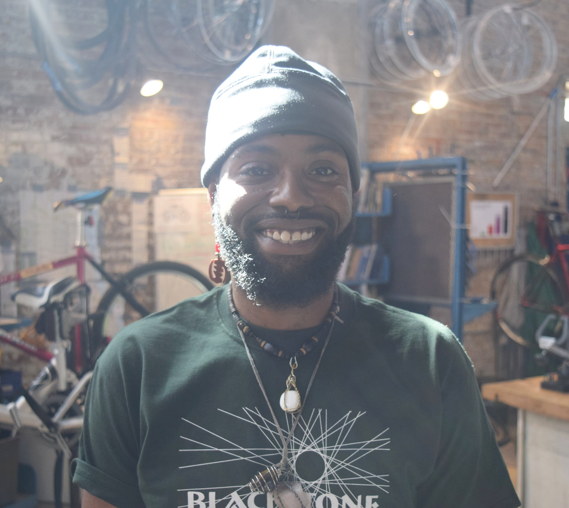 "Damian X. Lee   Program Manager, Blackstone Bicycle Works, Experimental Station   ""Blackstone Bikes, with the combination of Experimental Station, has been here to serve the community, which is Woodlawn, Kenwood, Hyde Park, and Englewood. The bike shop component of Experimental Station came about because of a lack of bike shops in the greater South Side area. Basically, the programs we created within the bike shop relate to sustainability, nutrition, academics, learning about working in different environments and customer service skills. We also have racing teams, a girls' bike club, and a youth leadership council that meets with a larger group once a year. It's all of these different components that makes up Blackstone Bicycle Works."""