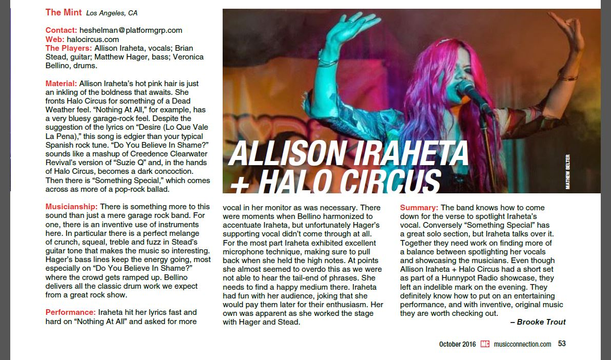 Halo Circus - Music Connection (Oct 2016 / Vol 40)
