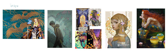 Inspiration Board for color comps: Jody Lee, Jessica Shirley, Kid Chan/Jody Lee, Kid Chan, Victor Nizovtsev