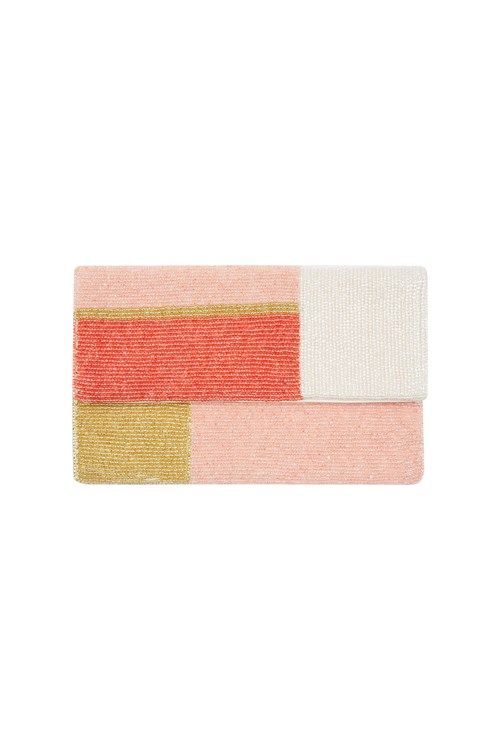 Peopletree Colour Block Clutch, Coral
