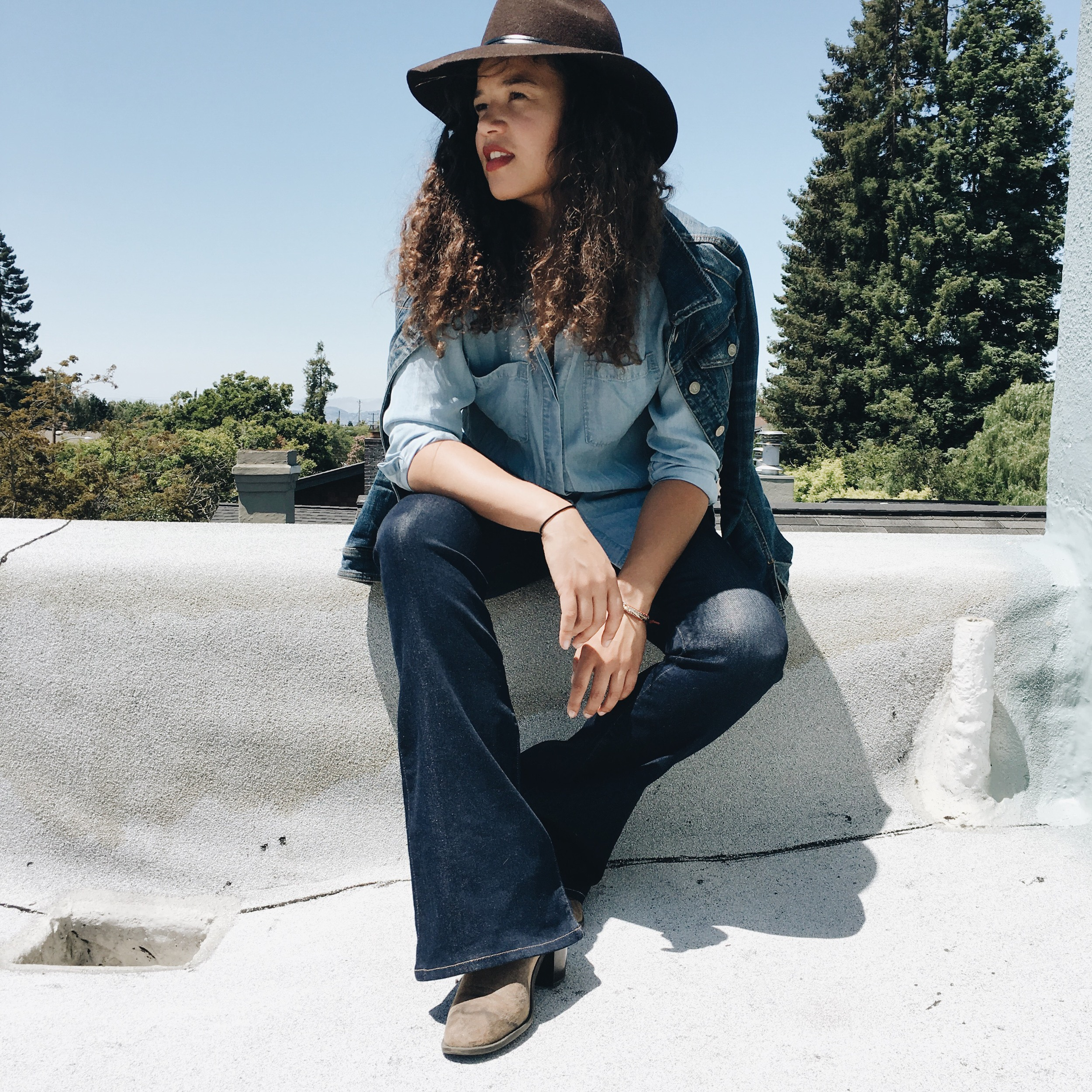 Hat, denim jacket: Anthropologie | Shirt: Old Navy | Jeans: Citizens of Humanity | Boots: Target