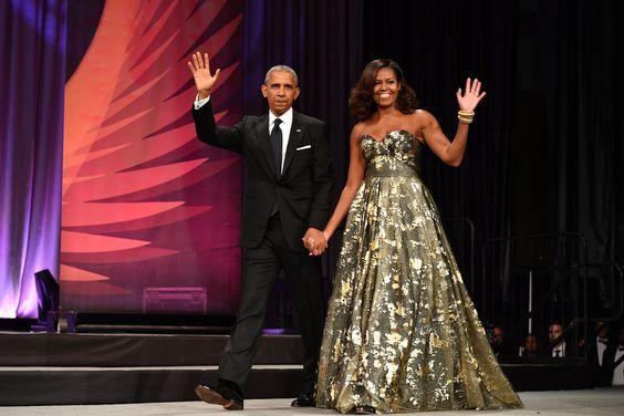 Image via  Harper's Bazaar , Michelle in a Naeem Khan gown.