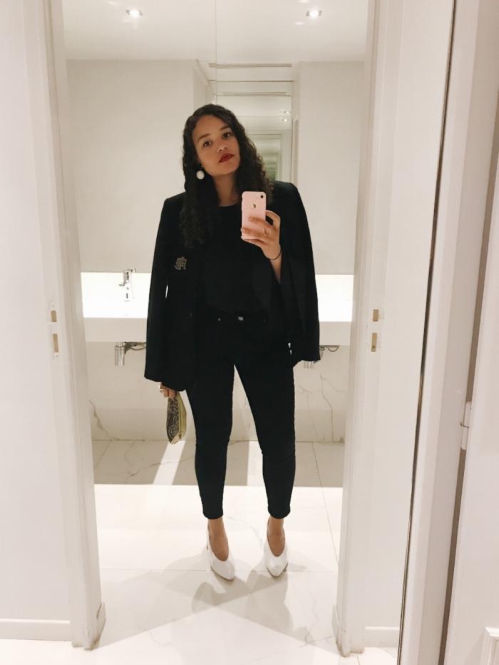 Blazer: vintage Ralph Lauren, thrifted   Top: WhoWhatWear   Pants: Banana Republic  Shoes: thrifted (originally Zara)   Earrings: Etsy shop My Crystal Market