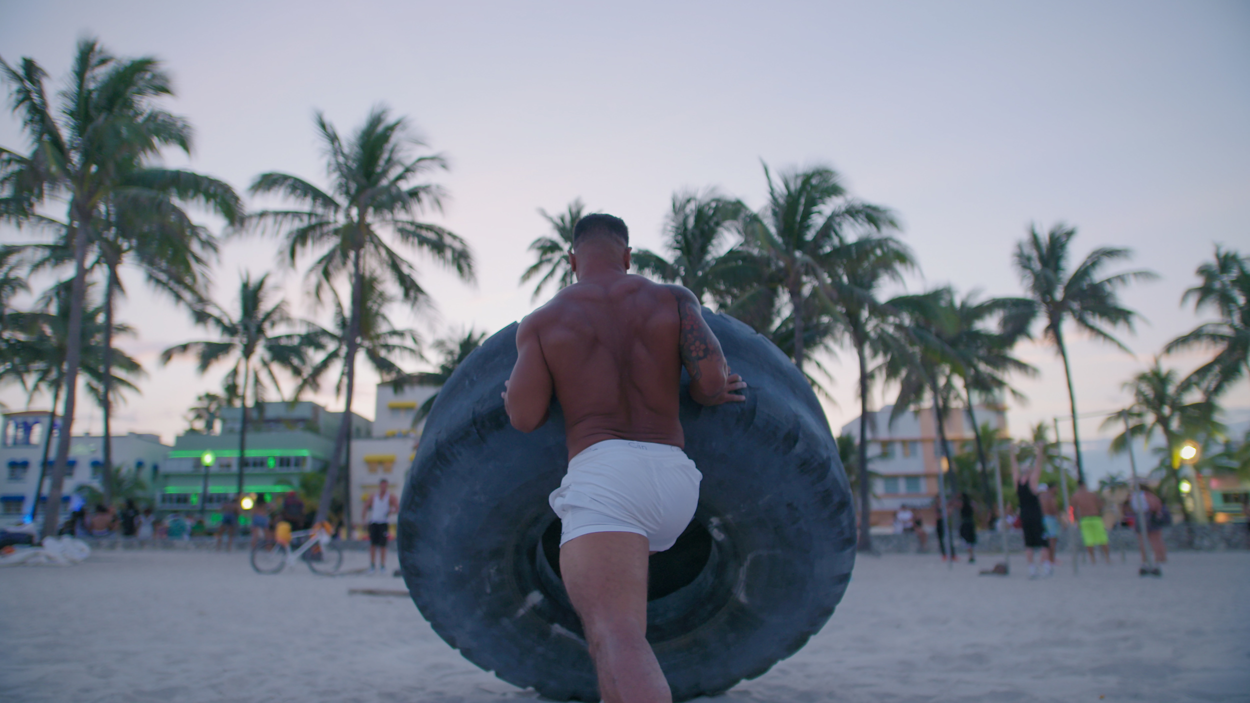 A local Miami Body Builder pushes a 800lb tire in a one short segment we filmed.