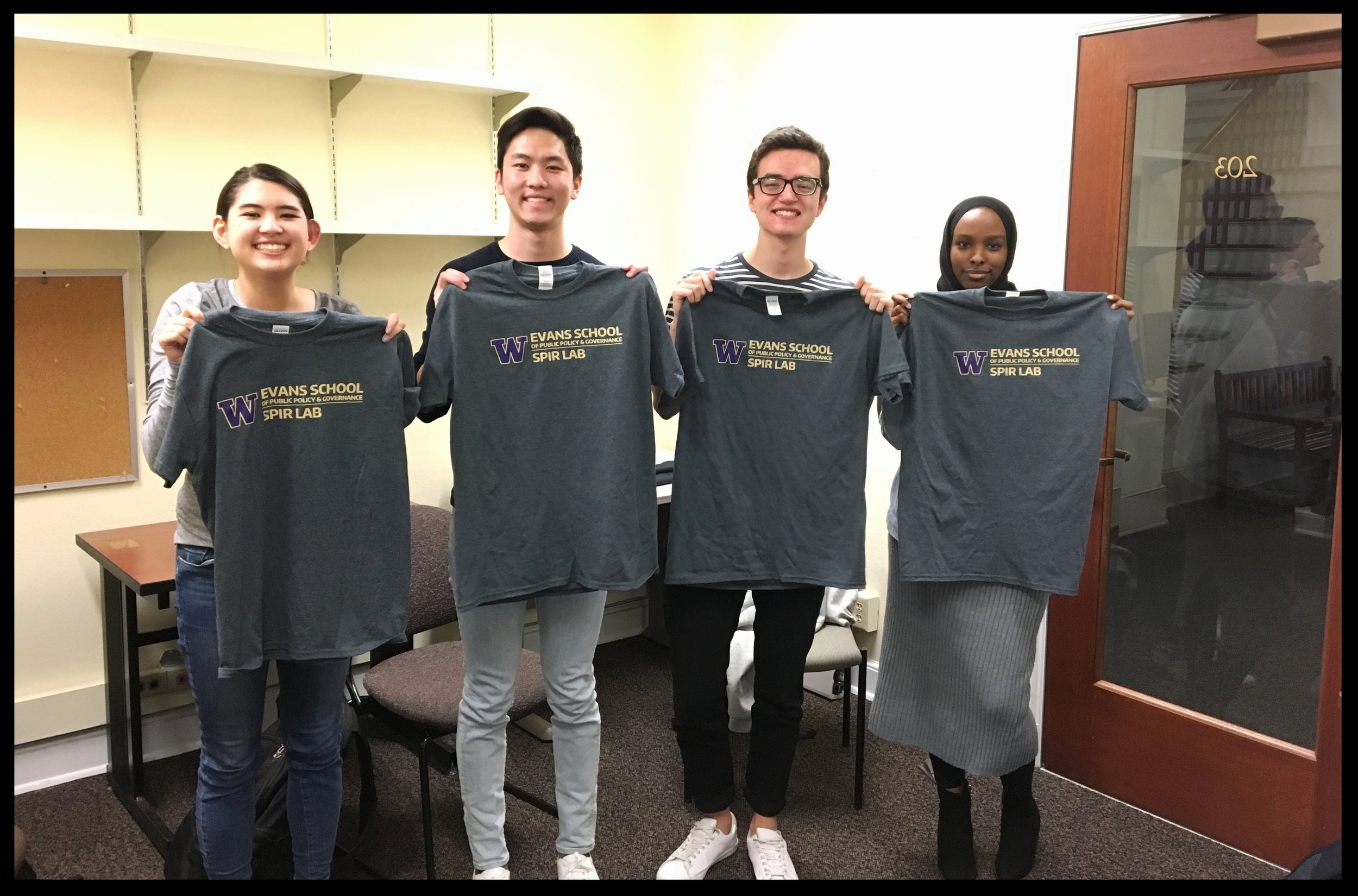 Regan, Nathan, CJ and Balqisa with our official new lab shirts!