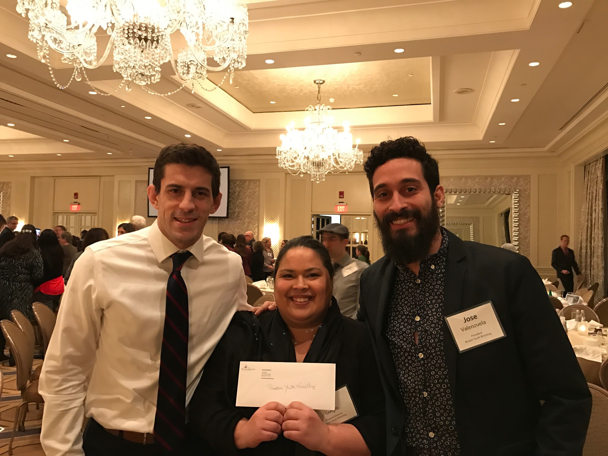 BYW Board Member Nic Miragliuolo and BYW Program Director Bior Guigni alongside Founder & Director José Valenzuela received the $20,000 check from The Lenny Zakim Fund on February 6, 2017 at the Four Seasons Hotel in Boston, MA.
