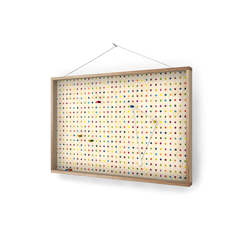 Coloured dowels on polka dots! Accidentally turned my timber serving tray into a wall mount jewellery frame.