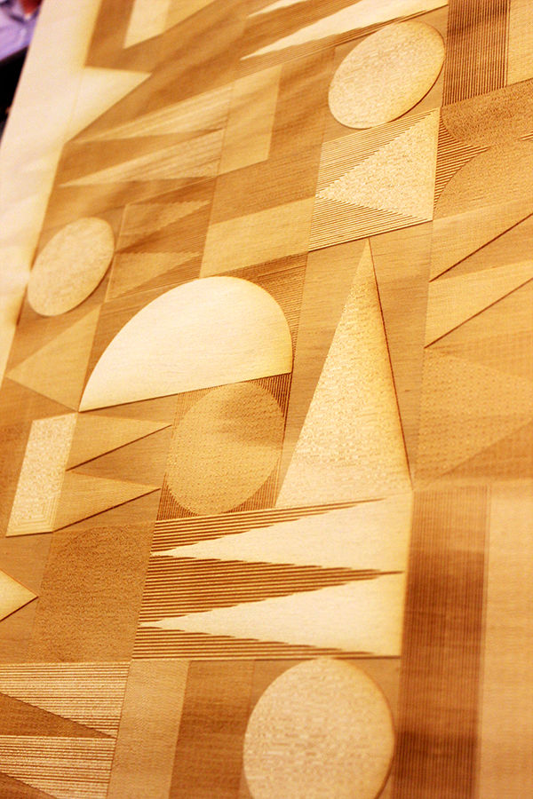 Recently befriended a laser cutter! This is almost too much fun. I have run one of my recent pattern 'Frequency' under the laser beam to see what happens. And.. I am again in love.